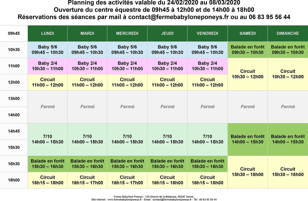 Planning des activités valable du 24/02/2020 au 08/03/2020