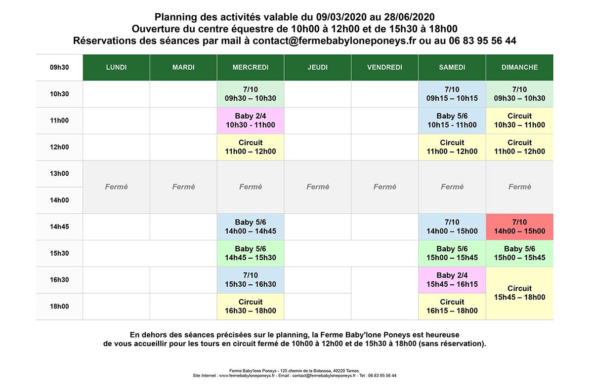 Planning des activités valable du 09/03/2020 au 28/06/2020
